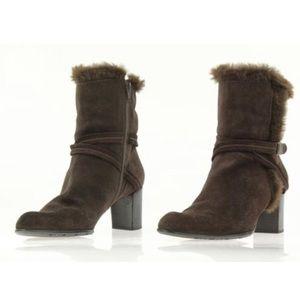 Stuart Weitzman Brown Suede & Faux Fur boots